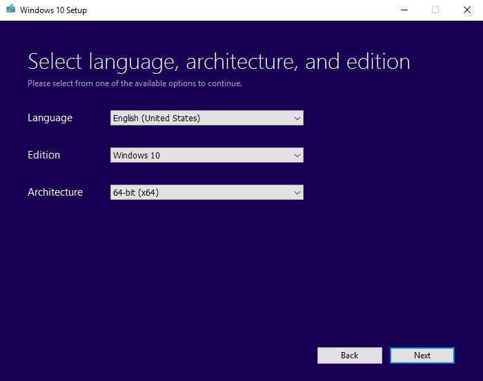 Windows 10 image - Media Creation Tool Step 3