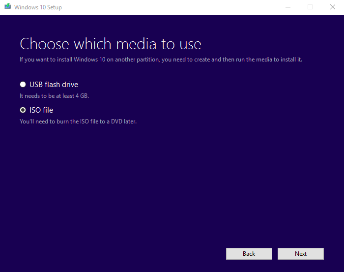 Windows 10 image - Media Creation Tool Step 4
